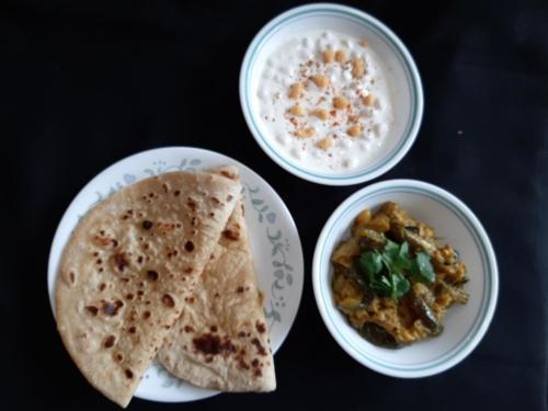 Zucchini with Boondi Raita and Roti